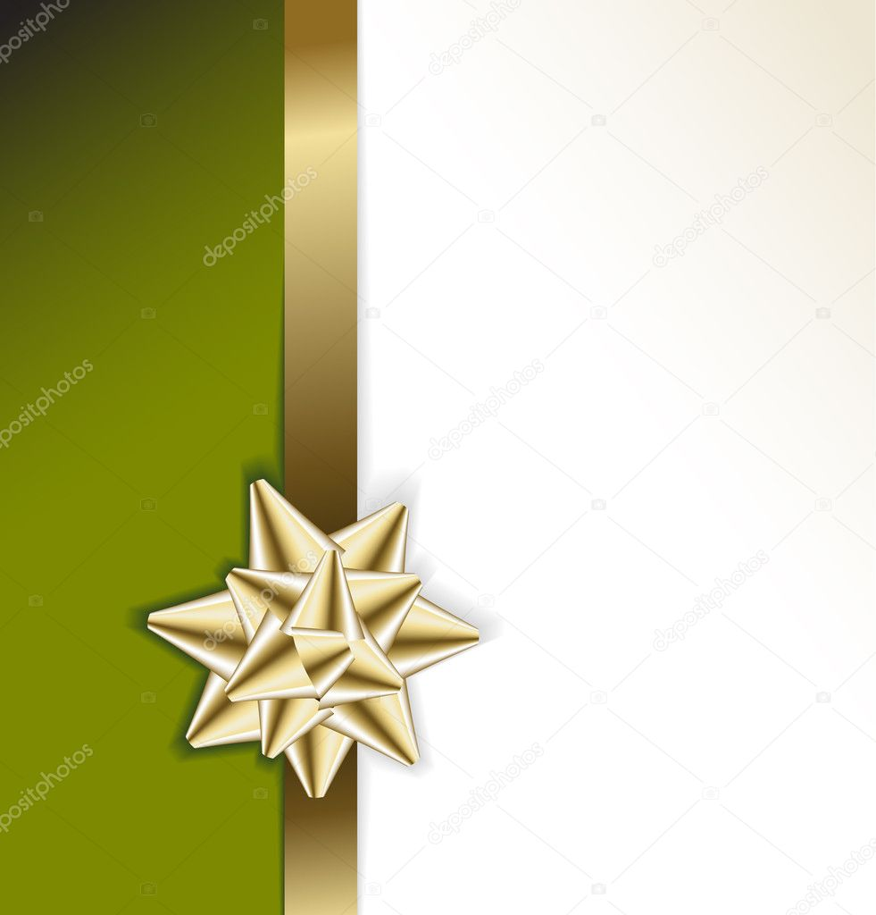 golden bow on a ribbon with green background