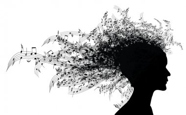Musical woman portrait silhouette