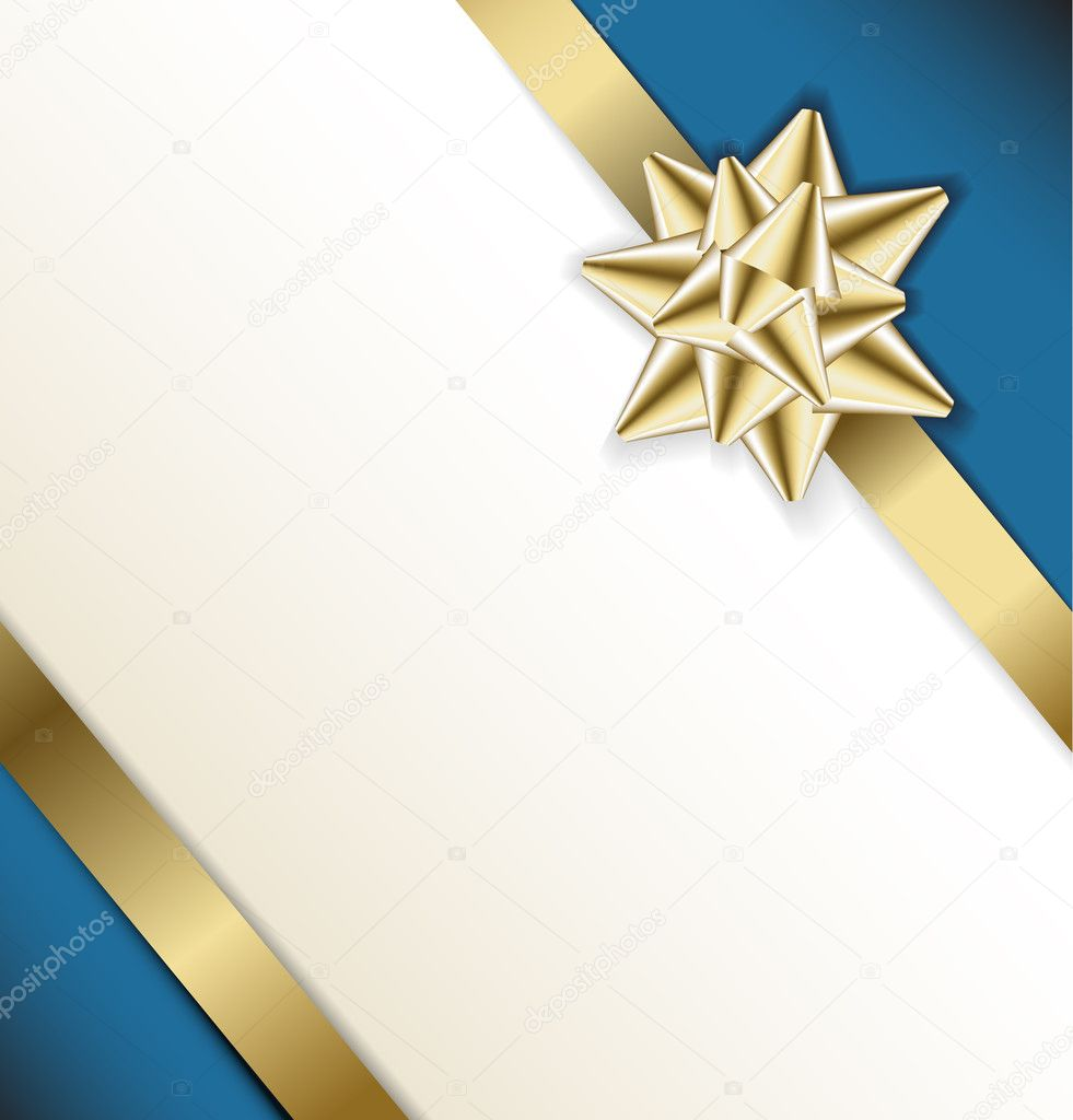 golden bow on a ribbon with white and blue background
