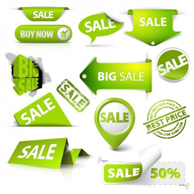 Collection of vector green sale tickets, labels, stamps