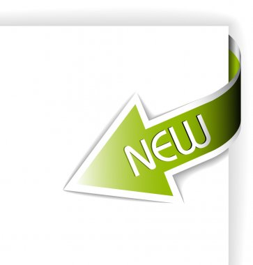 New green corner ribbon
