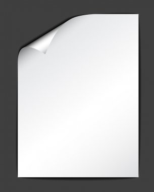 Sheet of white paper on dark background