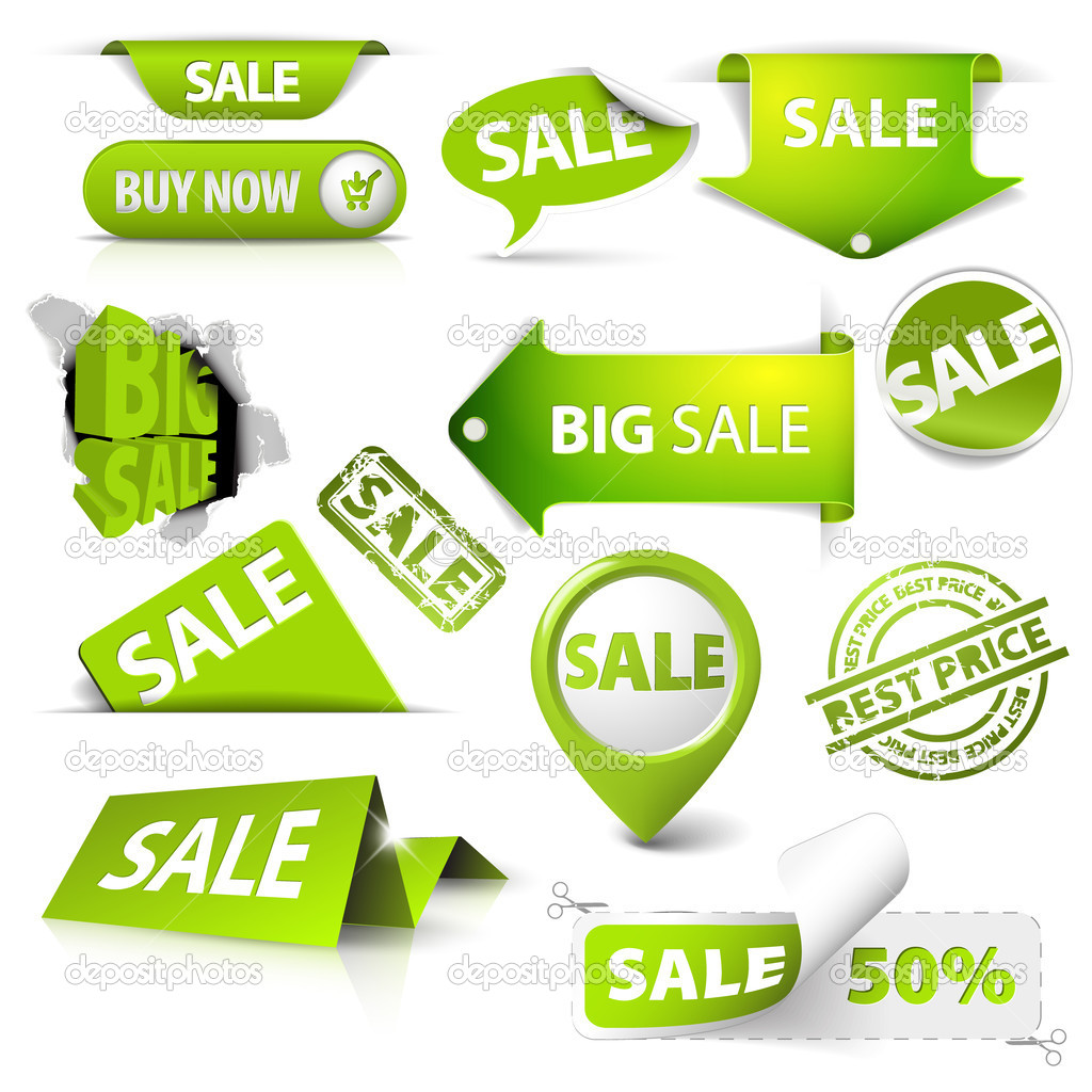 Collection of vector green sale tickets, labels, stamps, stickers, corners, tags on white background clipart vector