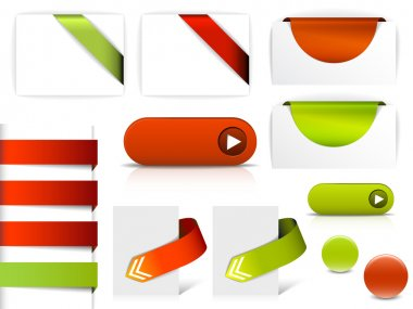 Red and green vector elements for web pages