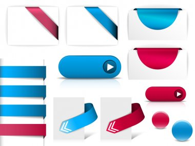 Blue and purple vector elements for web pages