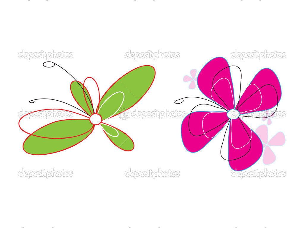 Two Bright Colorful Flowers