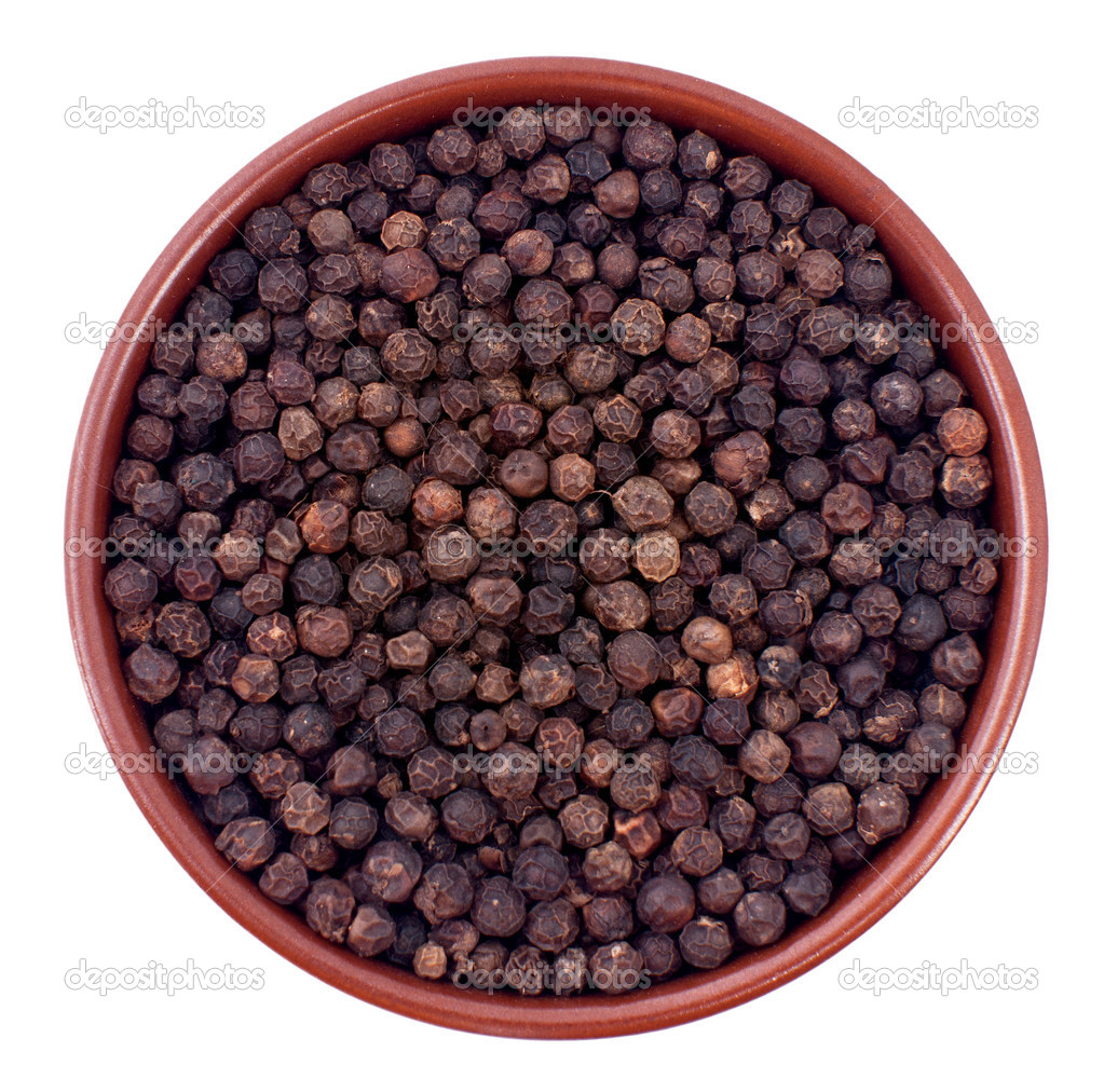 Black pepper in a ceramic bowl