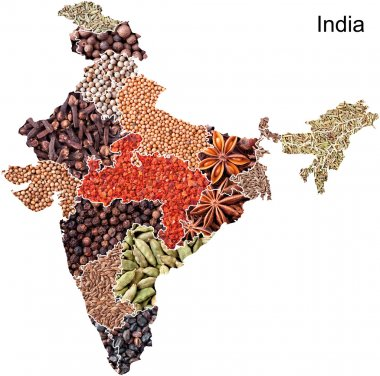 Political map of India with spices