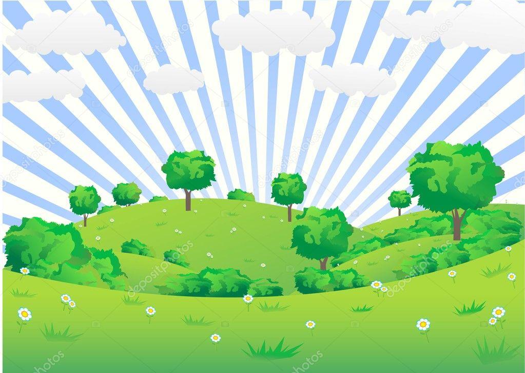 Landscape of green hills