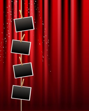 Vector photo frame and red curtain background