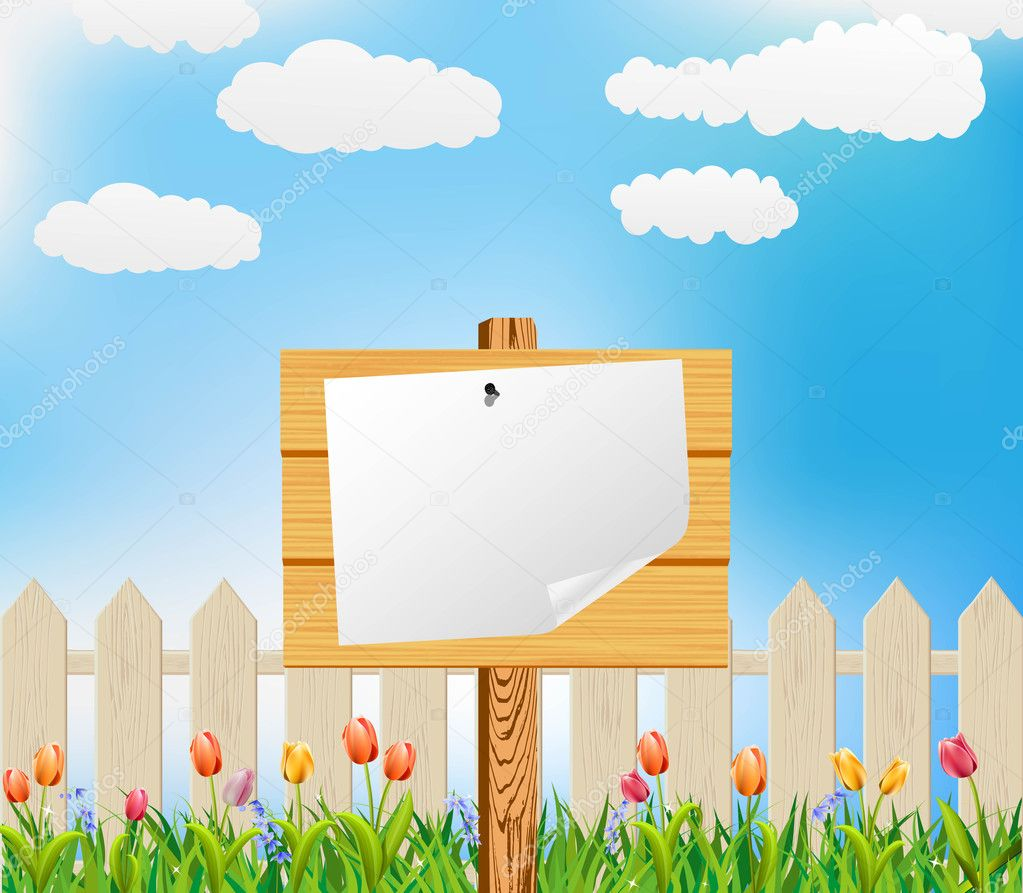 Vector flower garden and wooden billboard