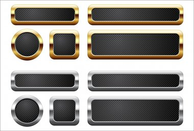Metallic and golden buttons stock vector