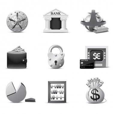 Bank icons | B&W series