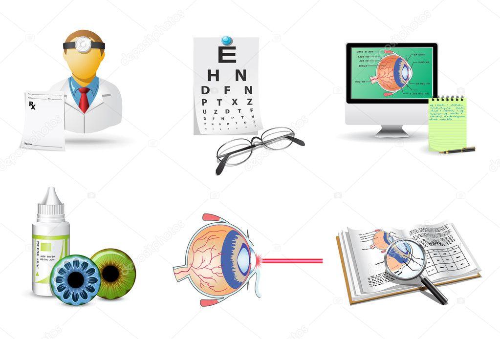 Medical icons set   Ophthalmology