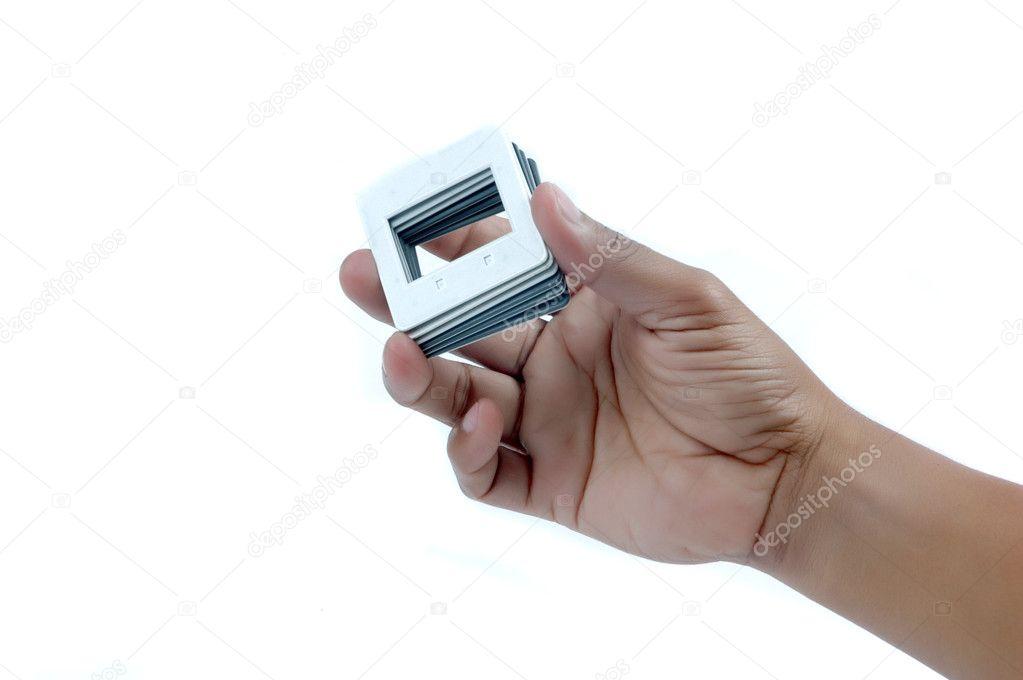 hombre mano un montón de película diapositiva Marcos — Foto de stock ...