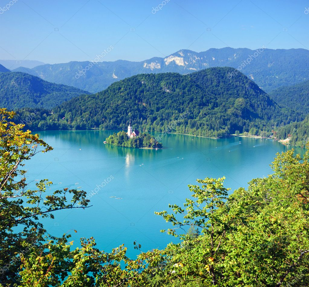 Photo from air perspective, Bled lake with island