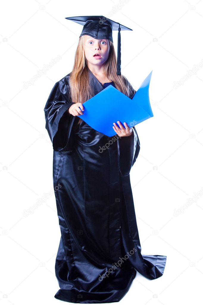 Girl with bachelor hat and graduation gown on isolated white — Stock ...
