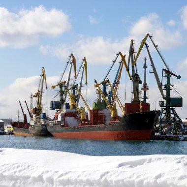 Quay in seaports in winter.