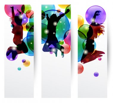 Set of three banner with happy jumping clip art vector