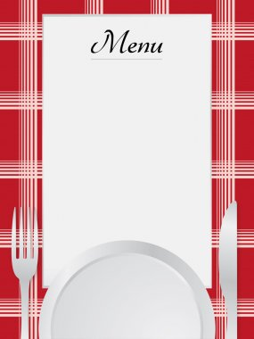 Menu napkin red and table set