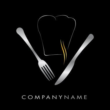 Logo restaurant - Toque et couverts argent, fum