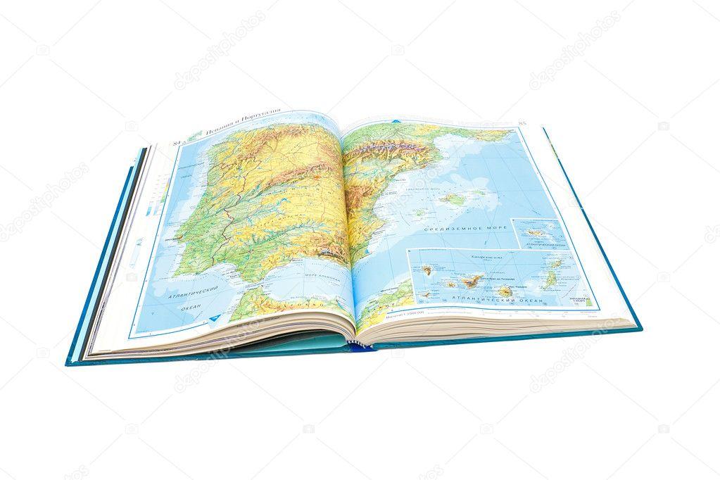 7eb78a751158f Откроется страница с карта Испании и Португалии. Крупным планом на белом  фоне — Фото автора ...