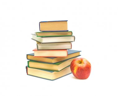 Big red apple and books on white background