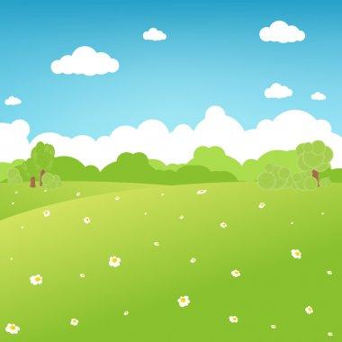 Cartoon Landscape, Vector Illustration stock vector