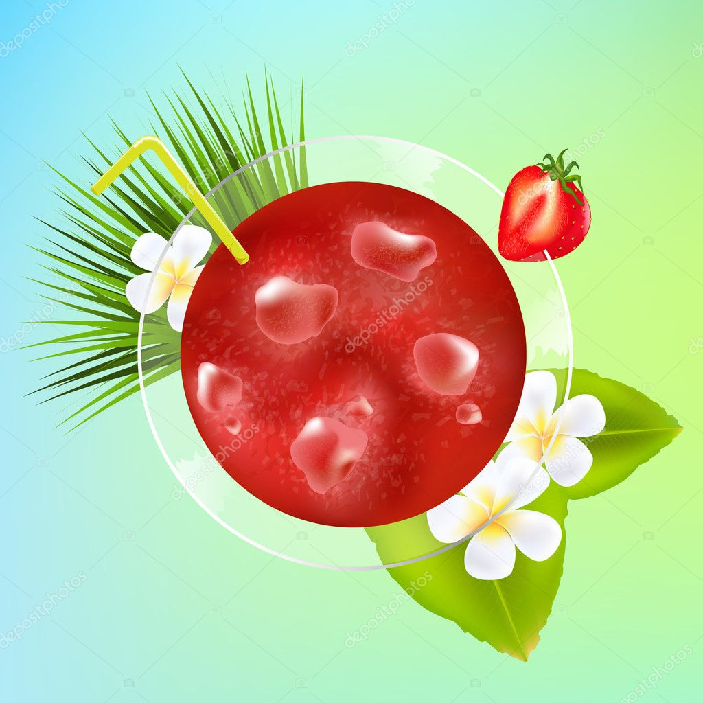 Strawberry Cocktail With Ice And Plumeria