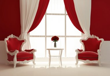 Modern armchairs by the window in royal interior