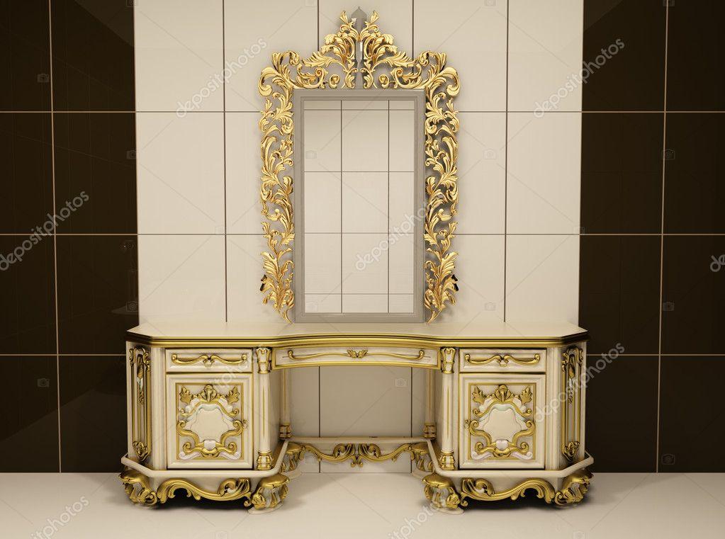 Gouden Barok Spiegel : Barokke gouden spiegel met koninklijke borst u stockfoto
