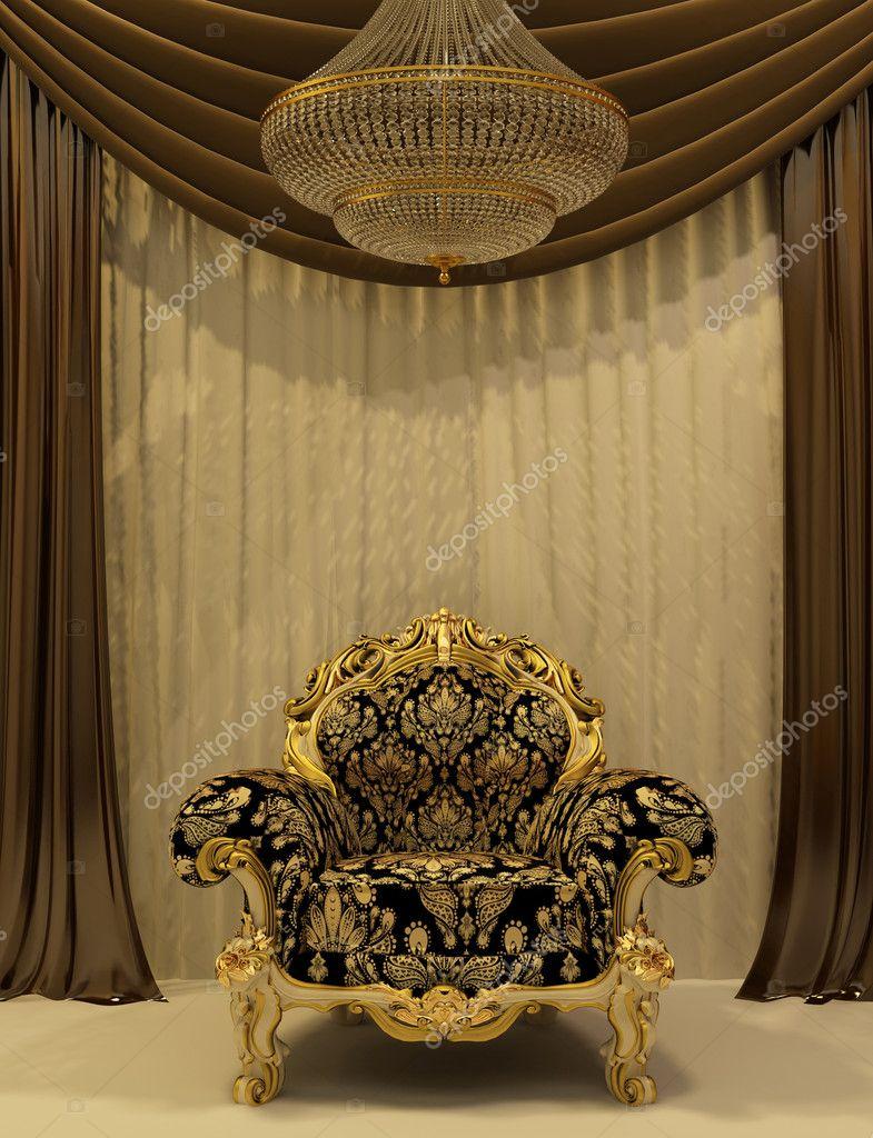 Koninklijke fauteuil met gordijn in luxe interieur — Stockfoto ...
