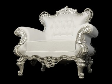 Royal white armchair with silver frame on the Black background