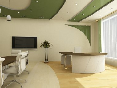 Workplaces in modern office classical;