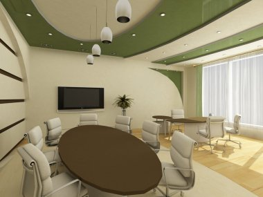 Interior of modern creative office with workplace