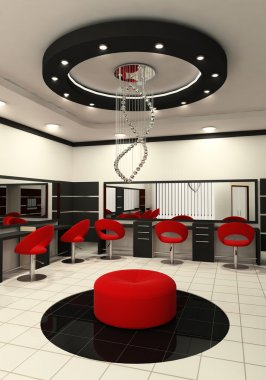 Workplaces and construction of ceiling in salon of beauty