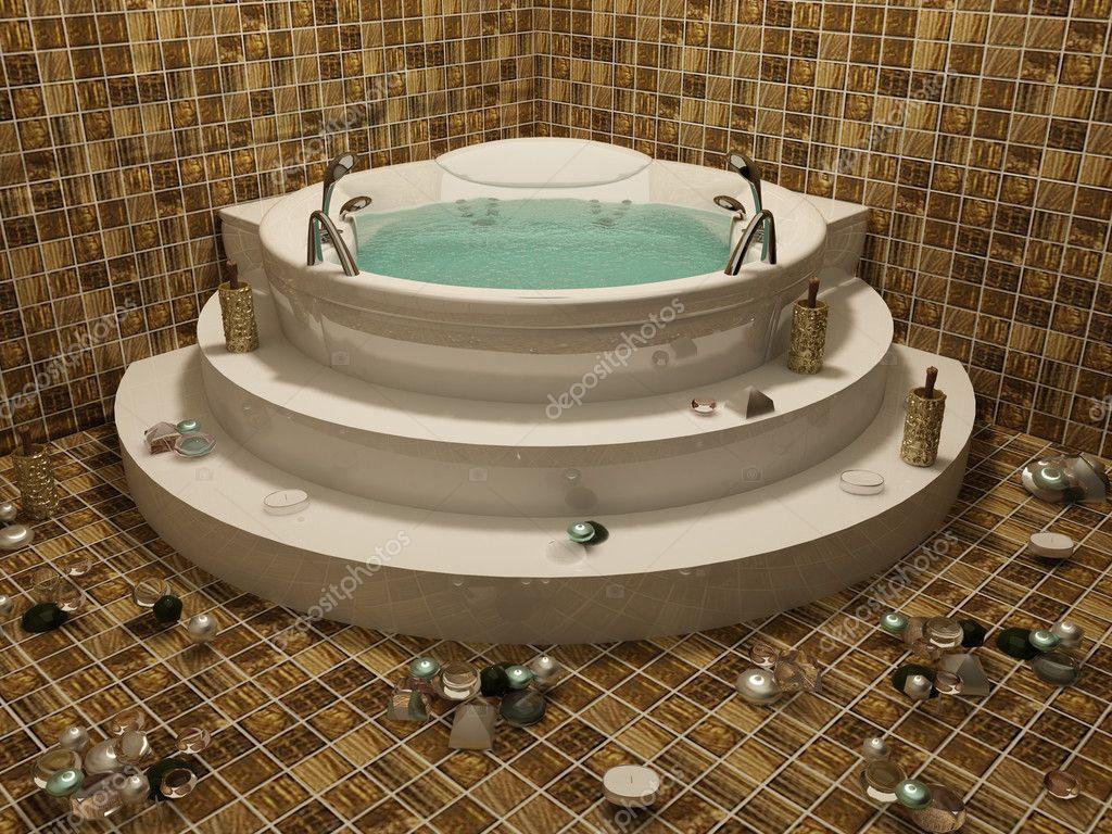 baignoire d 39 angle avec bougie en int rieur romantique bethroom photographie victoriaandrea. Black Bedroom Furniture Sets. Home Design Ideas