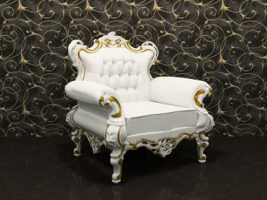 Leather luxury armchair with frame isolated on wallpaper with de