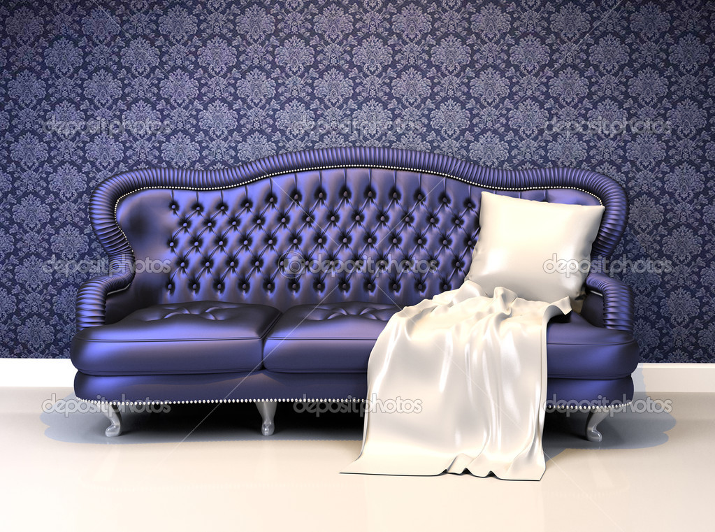 luxe lederen sofa bekleding in interieur met ornament — Stockfoto ...