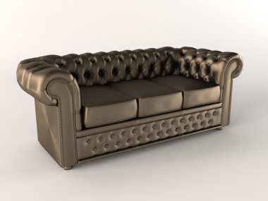 Chester Leather brown sofa. Chesterfield