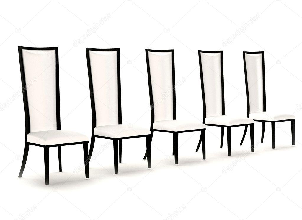 Prospettiva di sedie in pelle bianca, isolato su sfondo bianco ...