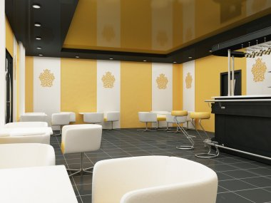 Interior of Restaurant. Modern Bar. Comfortable Cafe.