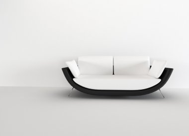 Modern sofa in in a bright empty living room - rendering. minima