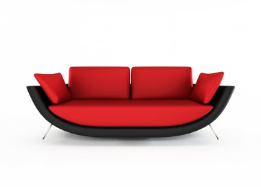 Red Modern sofa isolated on white background