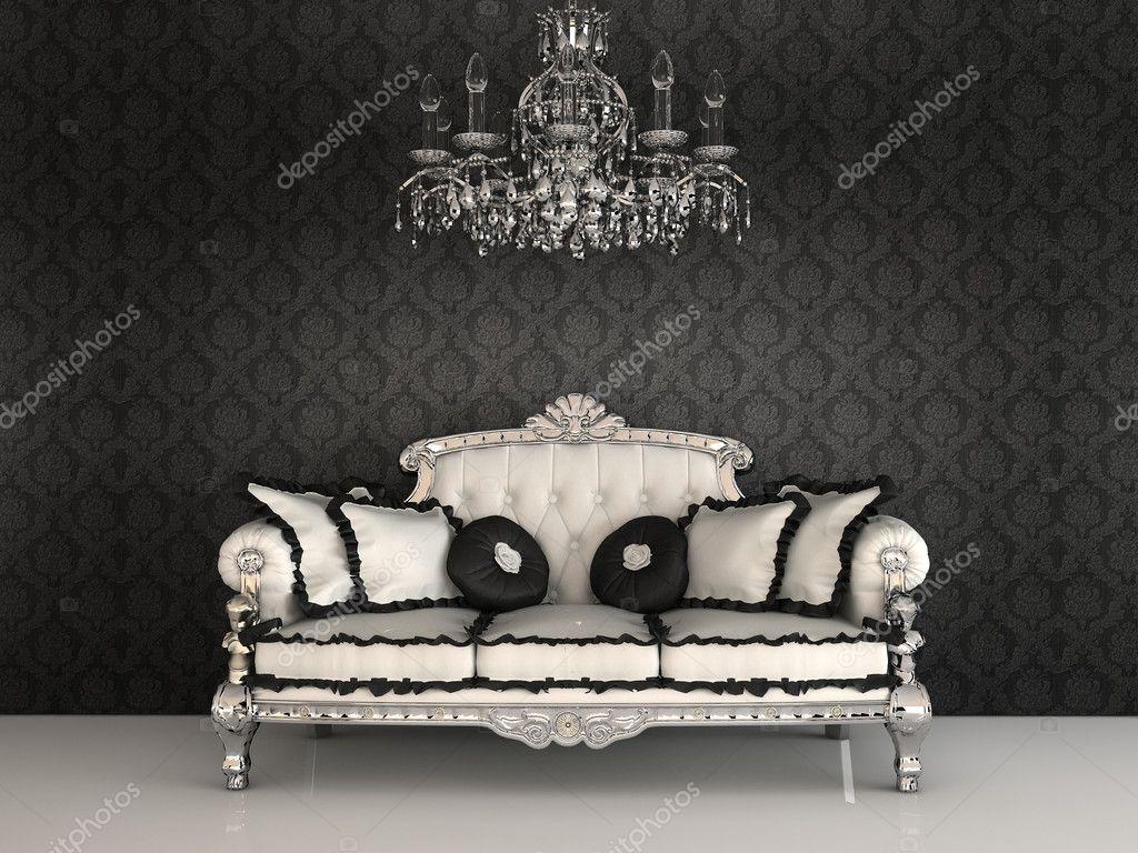 Königliche Sofa mit Kissen und Kronleuchter im luxuriösen Interieur ...