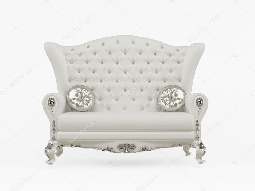 Modern Sofa With Decorative Pillows Isolated On White Background — Stock  Photo #6185744