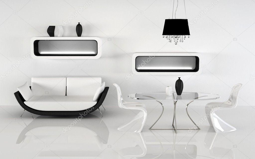 Sofa abd eenvoudige meubels van minimalisme interieur u stockfoto