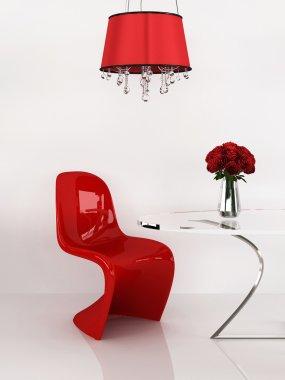 Modern chair in minimalism interior. Furniture. Loft. 3D Render