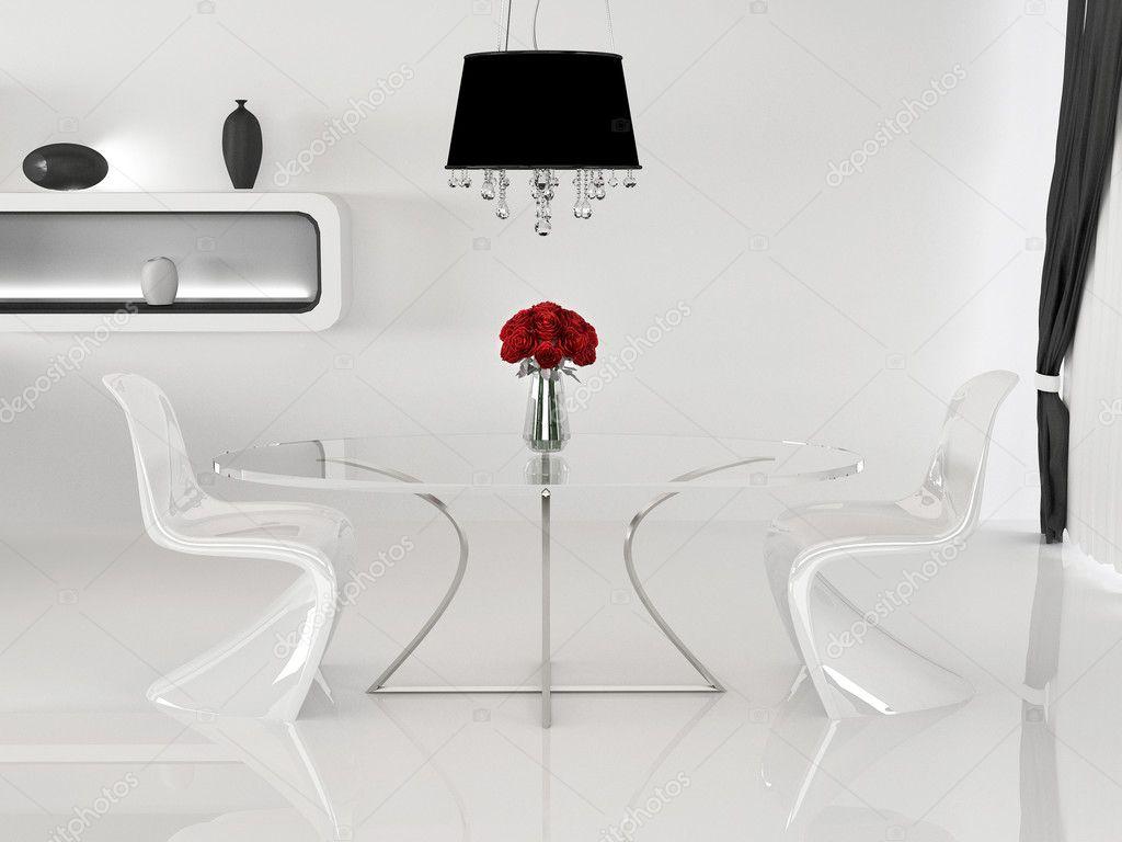 Twee stoelen en tafel met vaas in minimalisme interieur ruimte