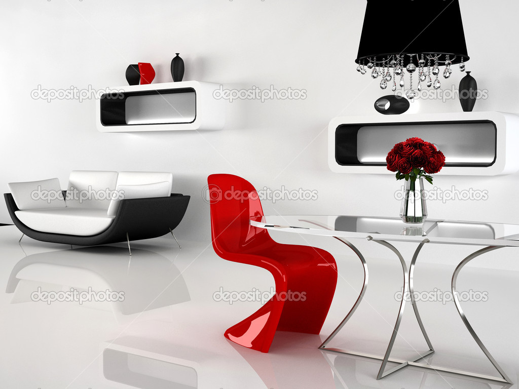 Minimalisme en barok meubilair in interieur. moderne sofa stoel